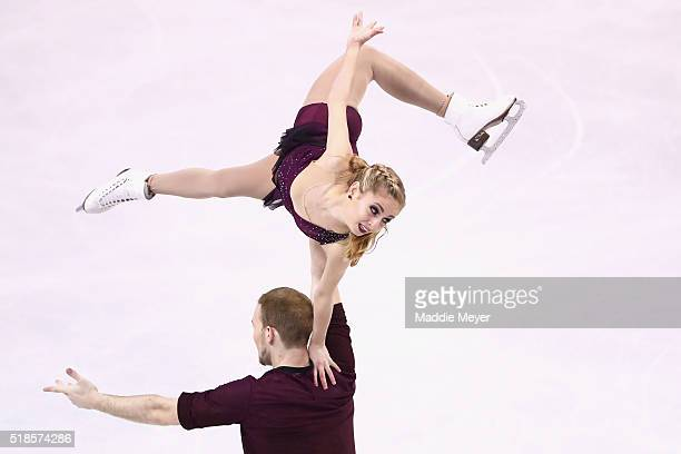 Tarah Kayne and Daniel O'Shea of the United States skate in the Pairs Short Program during Day 5 of the ISU World Figure Skating Championships 2016...