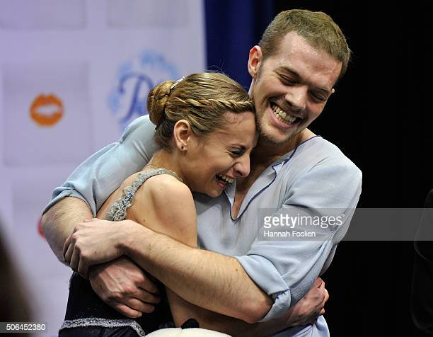 Tarah Kayne and Danny O'Shea react to their scores competing in the Pairs' Free Skate at the 2016 Prudential US Figure Skating Championship on...