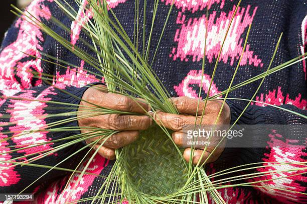 Tarahumara Woman Making Pine-Needle Baskets