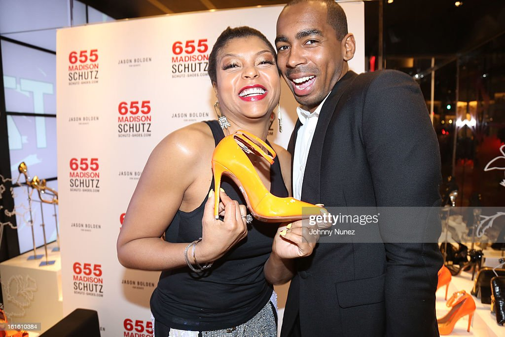 <a gi-track='captionPersonalityLinkClicked' href=/galleries/search?phrase=Taraji+P.+Henson&family=editorial&specificpeople=208823 ng-click='$event.stopPropagation()'>Taraji P. Henson</a> and Jason Bolden attend the Jason Bolden For SCHUTZ Launch at Schutz on February 12, 2013 in New York City.