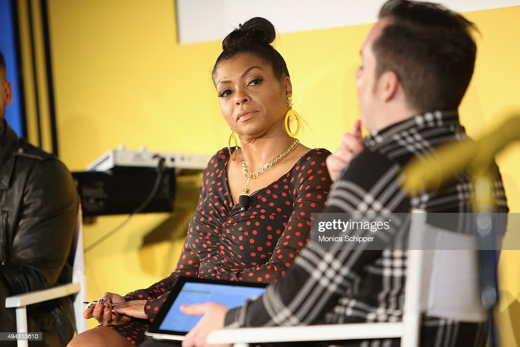 Taraji P. Henson (L) and Tim Stack speak onstage during Entertainment Weekly's first ever 'EW Fest' presented by LG OLED TV on October 24, 2015 in New York City.