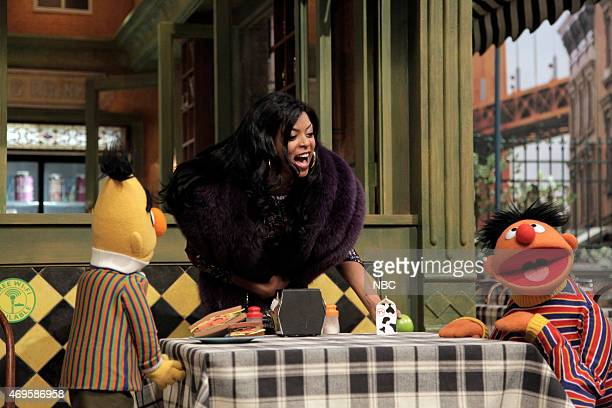 LIVE 'Taraji P Henson' Episode 1680 Pictured Bert Taraji P Henson as Cookie and Ernie during the 'Sesame Street Promo' skit on April 11 2015