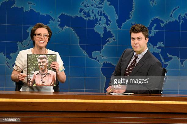 LIVE 'Taraji P Henson' Episode 1680 Pictured Kate McKinnon as Cecilia Gimenez Colin Jost and Michael Che during Weekend Update on April 11 2015