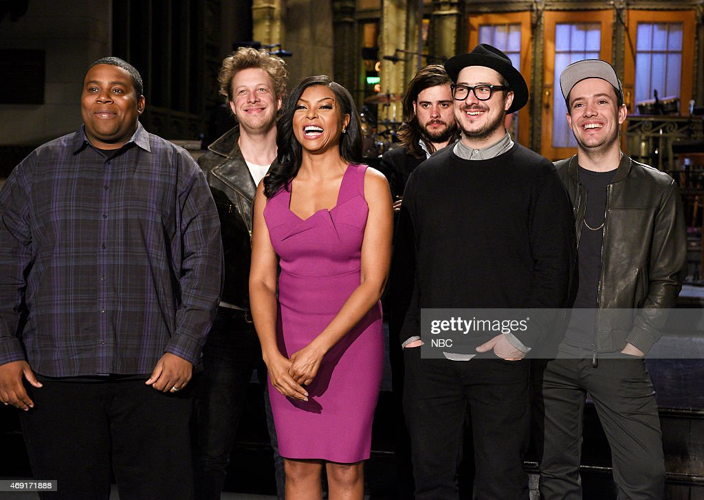 LIVE -- '<a gi-track='captionPersonalityLinkClicked' href=/galleries/search?phrase=Taraji+P.+Henson&family=editorial&specificpeople=208823 ng-click='$event.stopPropagation()'>Taraji P. Henson</a>' Episode 1680 -- Pictured: (l-r) Keenan Thompson and <a gi-track='captionPersonalityLinkClicked' href=/galleries/search?phrase=Taraji+P.+Henson&family=editorial&specificpeople=208823 ng-click='$event.stopPropagation()'>Taraji P. Henson</a> with Mumford & Sons members <a gi-track='captionPersonalityLinkClicked' href=/galleries/search?phrase=Ted+Dwane&family=editorial&specificpeople=5856816 ng-click='$event.stopPropagation()'>Ted Dwane</a>, <a gi-track='captionPersonalityLinkClicked' href=/galleries/search?phrase=Winston+Marshall&family=editorial&specificpeople=3124664 ng-click='$event.stopPropagation()'>Winston Marshall</a>, <a gi-track='captionPersonalityLinkClicked' href=/galleries/search?phrase=Marcus+Mumford&family=editorial&specificpeople=5385533 ng-click='$event.stopPropagation()'>Marcus Mumford</a> and <a gi-track='captionPersonalityLinkClicked' href=/galleries/search?phrase=Ben+Lovett&family=editorial&specificpeople=3039181 ng-click='$event.stopPropagation()'>Ben Lovett</a> on April 9, 2015 --