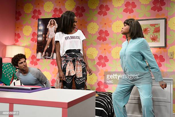 LIVE 'Taraji P Henson' Episode 1680 Pictured Kyle Mooney Sasheer Zamata and Taraji P Henson during the 'Vlog' skit on April 11 2015