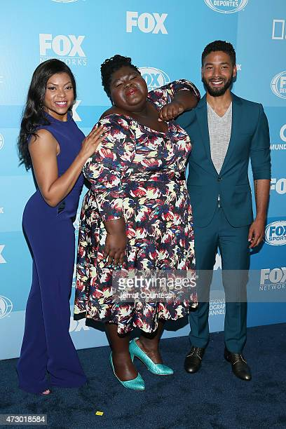 Taraji P Henson Gabourey Sidibe and Jussie Smollett attend the 2015 FOX programming presentation at Wollman Rink in Central Park on May 11 2015 in...