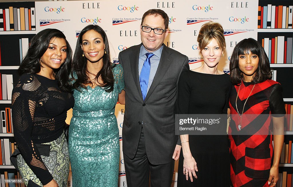 Taraji P. Henson, Rosario Dawson, president of Hearst Magazines David Carey, ELLE magazine editor-in-chief Robbie Myers and Kerry Washington attend a celebration for leading women in Washington hosted by GOOGLE, ELLE, and The Center for American Progress on January 20, 2013 in Washington, United States.