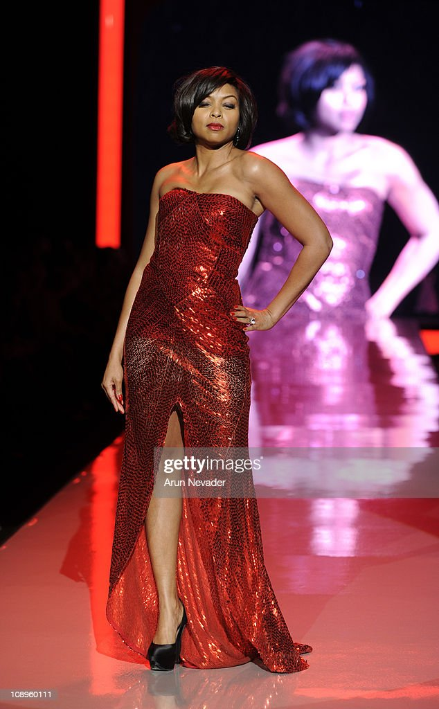Taraji P. Henson wearing Naeem Khan walks the runway at the Heart Truth Fall 2011 fashion show during Mercedes-Benz Fashion Week at The Theatre at Lincoln Center on February 9, 2011 in New York City.