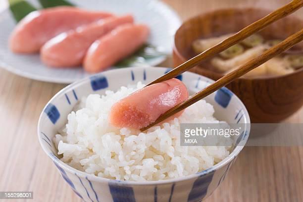 Tarako on Steamed Rice