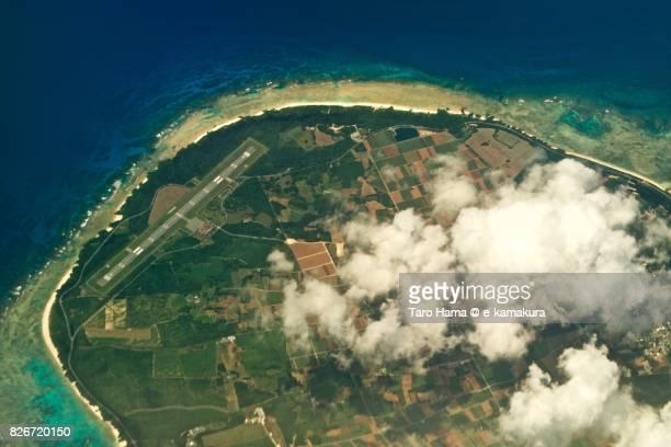 Taramajima island in Okinawa prefecture day time aerial view from airplane