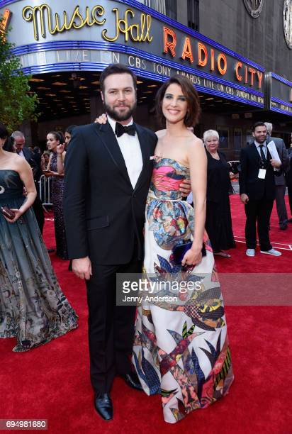 Taran Killam and Cobie Smulders attend the 2017 Tony Awards at Radio City Music Hall on June 11 2017 in New York City