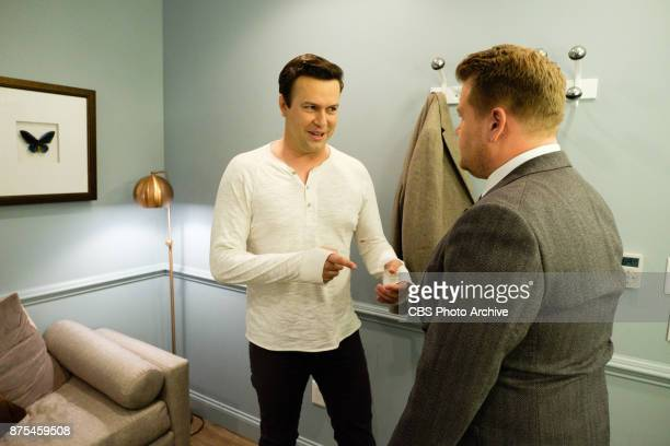 Taran Killam chats in the green room with James Corden during 'The Late Late Show with James Corden' Thursday November 16 2017 On The CBS Television...