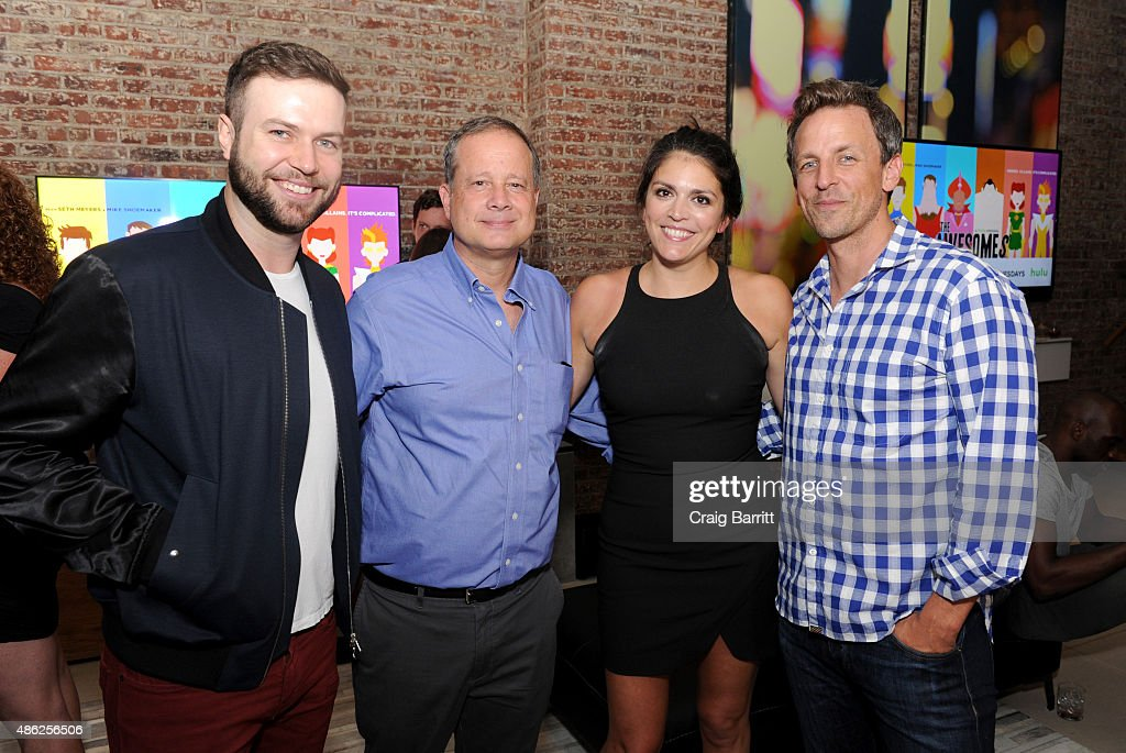 Taran Killam, Michael Shoemaker, Cecily Strong and Seth Meyers attend 'The Awesomes' Season 3 Premiere Party & Screening at Microsoft Lounge on September 2, 2015 in New York City.