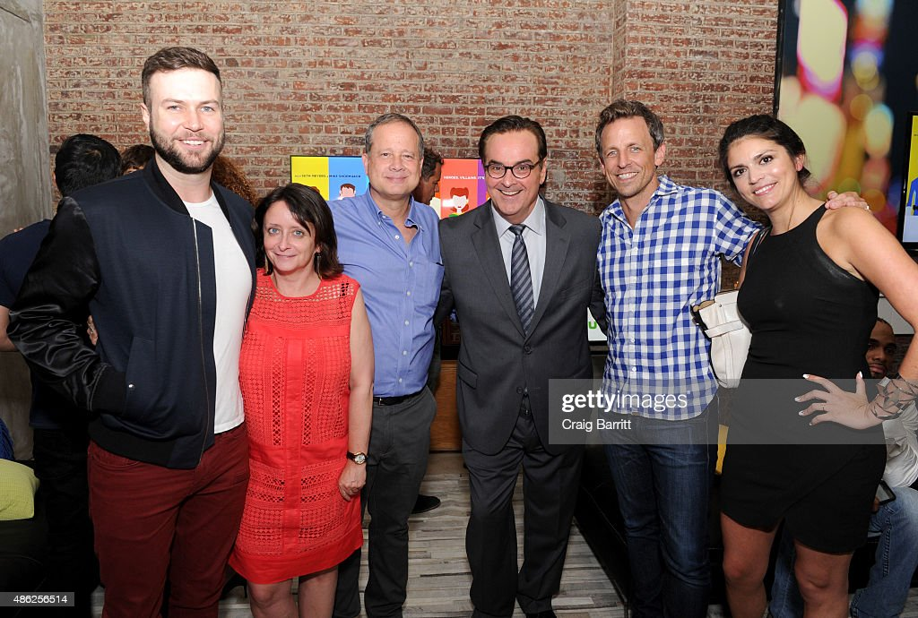 Taran Killam, Rachel Dratch, Michael Shoemaker, Steve Higgins, Seth Meyers and Cecily Strong attend 'The Awesomes' Season 3 Premiere Party & Screening at Microsoft Lounge on September 2, 2015 in New York City.