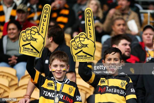 Taranaki fans show their support during the round one Mitre 10 Cup match between Taranaki and Waikato at Yarrow Stadium on August 19 2017 in New...