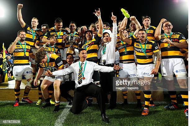 Taranaki players celebrate after winning the ITM Cup Premiership Final match between Taranaki and Tasman at Yarrow Stadium on October 25 2014 in New...