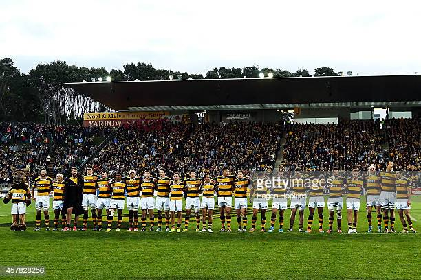 Taranaki players line up for the national anthem during the ITM Cup Premiership Final match between Taranaki and Tasman at Yarrow Stadium on October...