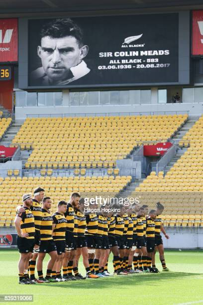 Taranaki players observe a moment of silence in memory of former All Black Sir Colin Meads during the round two Mitre 10 Cup match between Wellington...