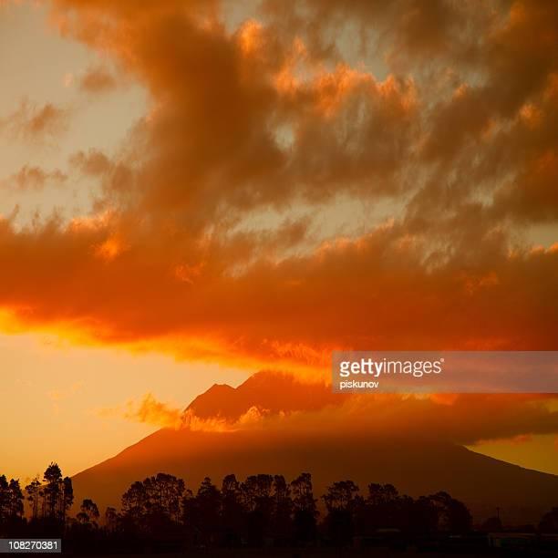 Taranaki Volcano at Sunset