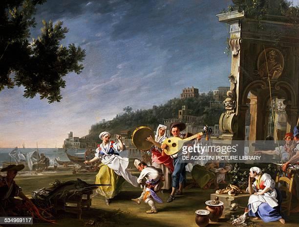 Tarantella at Mergellina painting by Filippo Falciatore oil on canvas 76x102 cm detail Italy 18th century Detroit Detroit Institute Of Arts