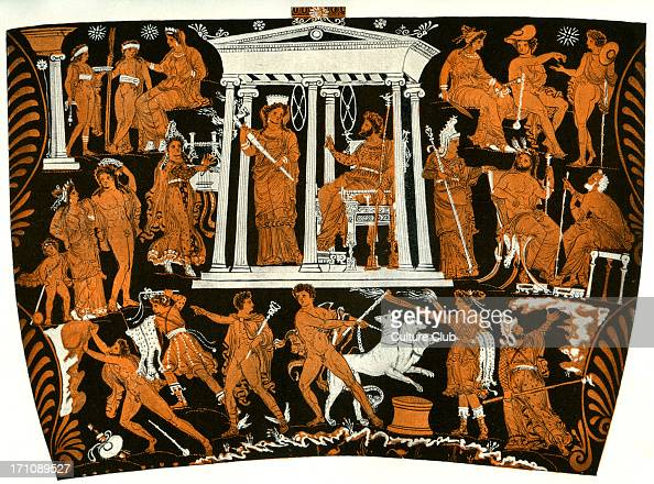 Tarantine Greek red figure vase showing the underworld Hades and Persephone hold court in the centre with Aeacus a judge of the virtues of the...