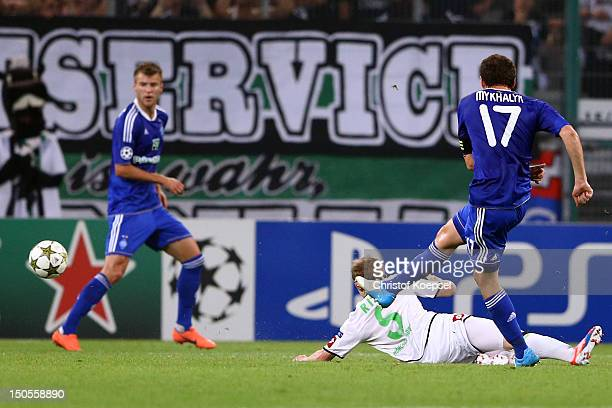 Taras Mikhalik of Kiew scores the first goal during the UEFA Champions League playoff first leg match between Borussia Moenchengladbach and Dynamo...