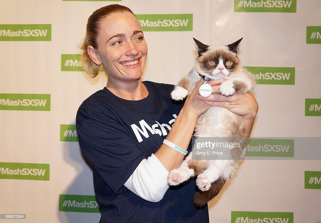 Tardar Sauce aka 'Grumpy Cat' and owner Tabatha Bundesen make a personal appearance at the Mashable House during the 2013 SXSW Music, Film + Interactive Festival on March 8, 2013 in Austin, Texas.