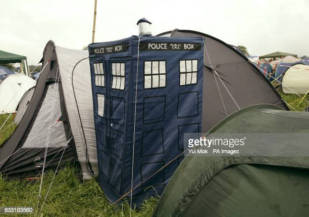 A tardis themed tent at the 2007 Glastonbury Festival at Worthy Farm in Pilton Somerset