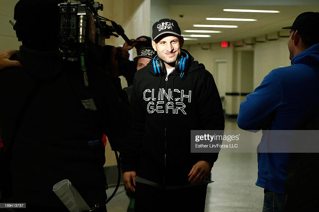 Tarec Saffiedine arrives at the arena before his welterweight championship bout against Nate Marquardt during the Strikeforce event on January 12, 2013 at Chesapeake Energy Arena in Oklahoma City, Oklahoma.
