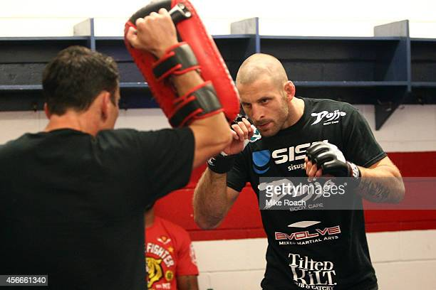 Tarec Saffiedine of Belgium warms up backstage during the UFC Fight Night event at the Scotiabank Centre on October 4 2014 in Halifax Nova Scotia...