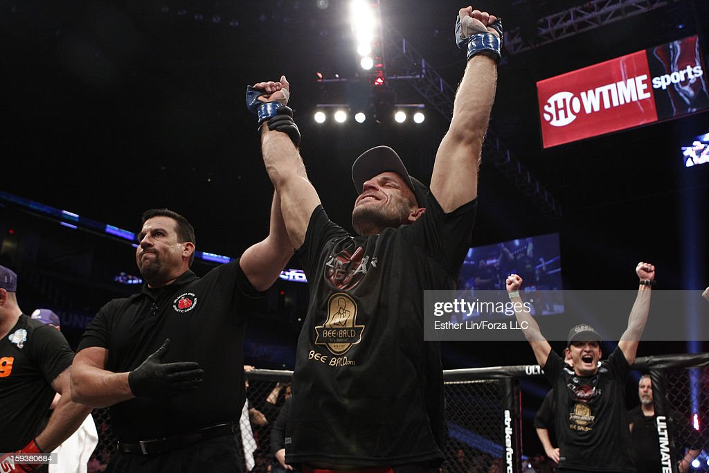 Tarec Saffiedine reacts after defeating Nate Marquardt in their welterweight championship bout during the Strikeforce event on January 12, 2013 at Chesapeake Energy Arena in Oklahoma City, Oklahoma.