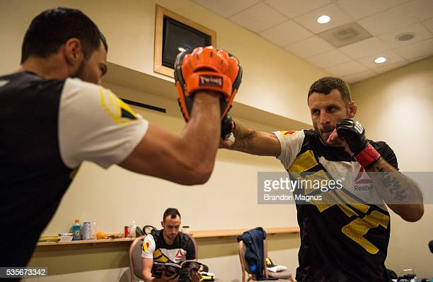 Tarec Saffiedine warms up backstage during the UFC Fight Night Event inside the Mandalay Bay Events Center on May 29 2016 in Las Vegas Nevada