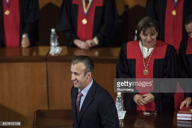 Tareck El Aissami vice president of Venezuela leaves the podium after speaking during the annual reports presentation at the Supreme Court in Caracas...
