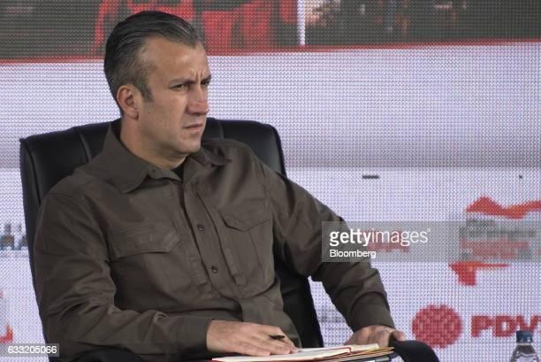 Tareck El Aissami vice president of Venezuela listens during a swearing in ceremony for the new board of directors of Petroleos de Venezuela SA...