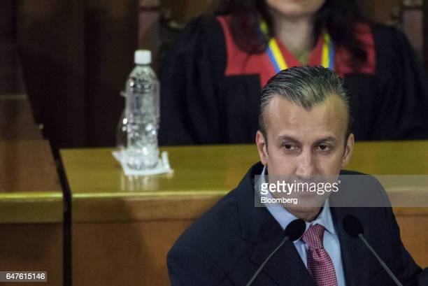 Tareck El Aissami vice president of Venezuela pauses while speaking during the annual reports presentation at the Supreme Court in Caracas Venezuela...