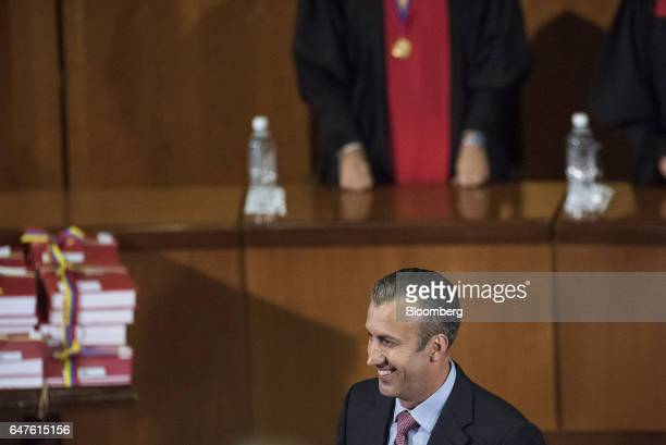Tareck El Aissami vice president of Venezuela smiles during the annual reports presentation at the Supreme Court in Caracas Venezuela on Thursday...