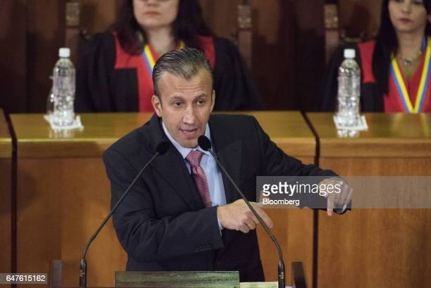 Tareck El Aissami vice president of Venezuela speaks during the annual reports presentation at the Supreme Court in Caracas Venezuela on Thursday...
