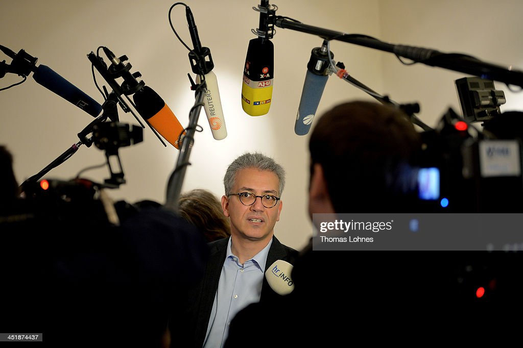 Tarek Al Wazir of the Greens Party (Buendnis 90/Die Gruenen) arrives for negotiations in creating a new government in the state of Hesse between the the German Greens Party (Buendnis 90/Die Gruenen) and the German Christian Democrats (CDU) on November 25, 2013 in Wiesbaden, Germany. Should the two parties reach an agreement it will be the first time ever the two parties will govern together in a coalition. The move could also have an effect on the drawn-out coalition negotiations on the federal level between the CDU and the German Social Democrats (SPD).
