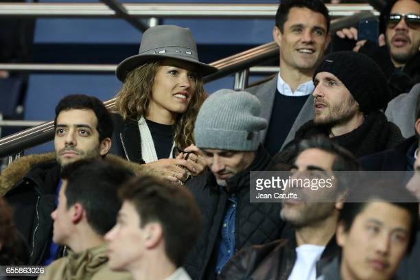 Tarek Boudali Elodie Fontan and Philippe Lacheau attend the French Ligue 1 match between Paris SaintGermain and Olympique Lyonnais at Parc des...