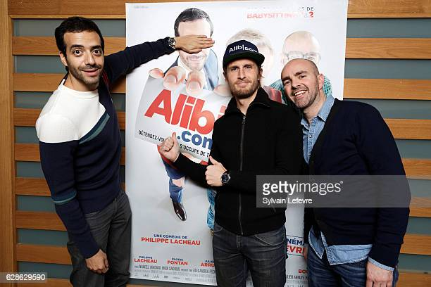 Tarek Boudali Philippe Lacheau and Julien Arruti attend the 'Alibi' premiere at Lomme Kinepolis on December 8 2016 in Lille France