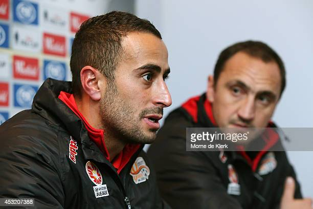 Tarek Elrich and Michael Valkanis of Adelaide speak to media during a press conference after the FFA Cup match between Adelaide United and Wellington...