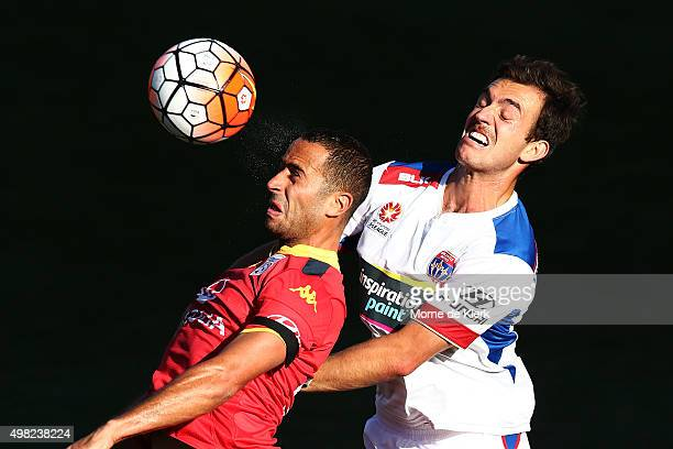 Tarek Elrich of Adelaide United competes with Ben Kantarovski of Newcastle Jets during the round seven ALeague match between Adelaide United and the...