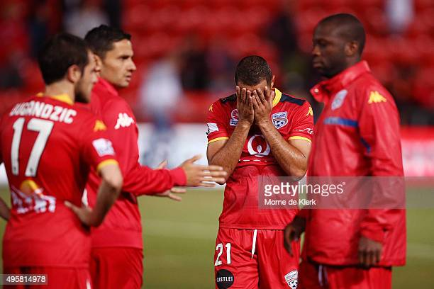 Tarek Elrich of Adelaide United react after the round five ALeague match between Adelaide United and Melbourne City FC at Coopers Stadium on November...