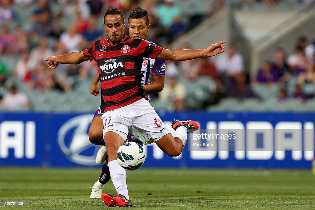 Tarek Elrich of the Wanderers passes the ball during the round 13 A-League match between the Perth Glory and the Western Sydney Wanderers at Patersons Stadium on December 27, 2012 in Perth, Australia.