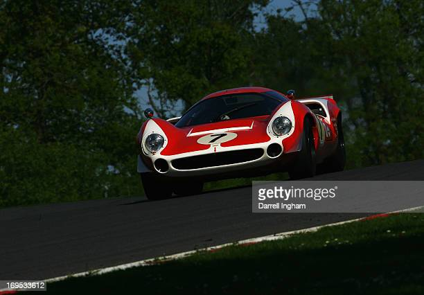 Tarek Mahmoud drives the Lola T70 Mk3 in the FIA Masters Historic Sports Car Championship race during the Masters Historic Festival at the Brands...