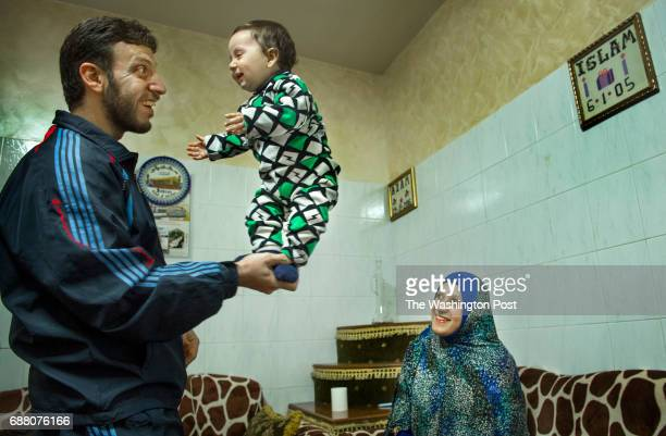 Tarek Taweel age 30 with his wife Iman Altaweel and 9month old son Azem in Hebron Israel on March 31 2017 Taweel total commute time to and from work...