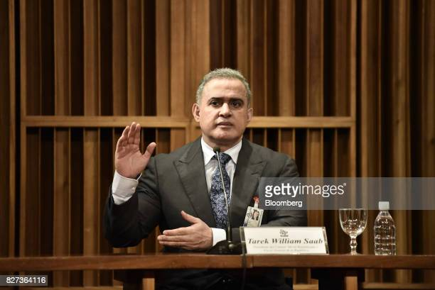 TarekWilliam Saab Venezuela's chief prosecutor pauses while speaking during press conference in Caracas Venezuela on Monday Aug 7 2017 The assembly...