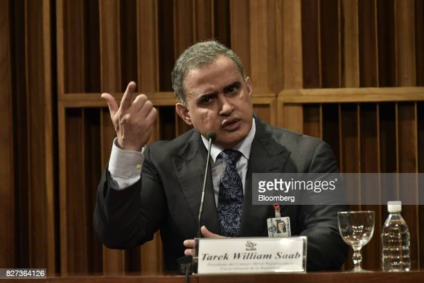 TarekWilliam Saab Venezuela's chief prosecutor speaks during a press conference in Caracas Venezuela on Monday Aug 7 2017 The assembly elected in...