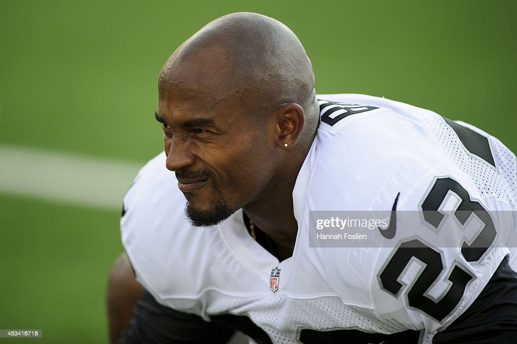 <a gi-track='captionPersonalityLinkClicked' href=/galleries/search?phrase=Tarell+Brown&family=editorial&specificpeople=2105844 ng-click='$event.stopPropagation()'>Tarell Brown</a> #23 of the Oakland Raiders looks on before the game against the Minnesota Vikings on August 8, 2014 at TCF Bank Stadium in Minneapolis, Minnesota.