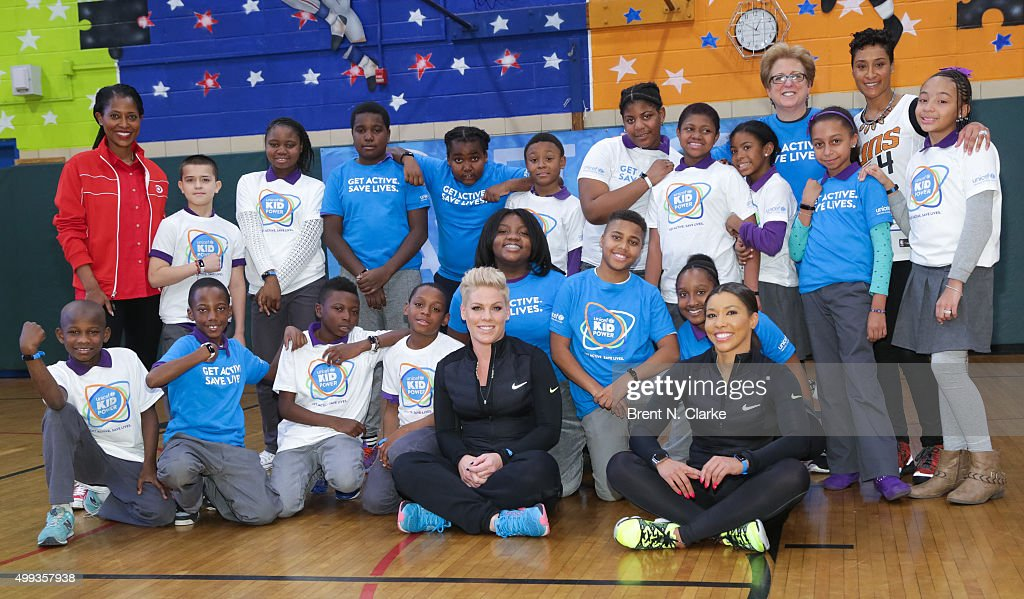 Target Chief Corporate Social Responsibility Officer Laysha Ward recording artist Pink celebrity trainer Jeanette Jenkins and US Fund for UNICEF...